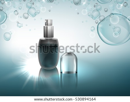Transparent glass flacon with silver elements. Beautiful vector illustration in realistic style. Cosmetic, skin care or perfumery concept in clear light blue colours. Premium design template. #530894164