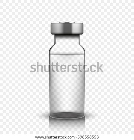 transparent glass medical vial