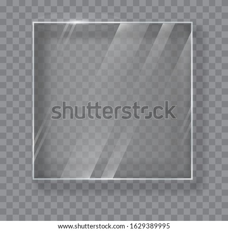Transparent Glass Plate Mock Up. See through banner. Plastic banner with reflection and shadow. Glass banners on transparent background. Foto d'archivio ©