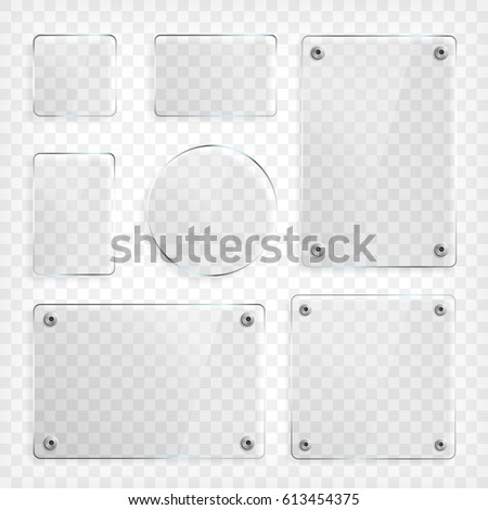 Shutterstock Transparent Glass plates set. Square shape, rectangle and round circle. See through mock up with mounts. Plastic banners with reflection and shadow. Photo realistic vector illustration