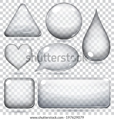 transparent glass shapes or