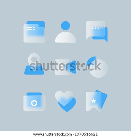 Transparent glass vector icon design set. Glass morphism vector effect. Glass-morphism trend style for web. Blue icons set
