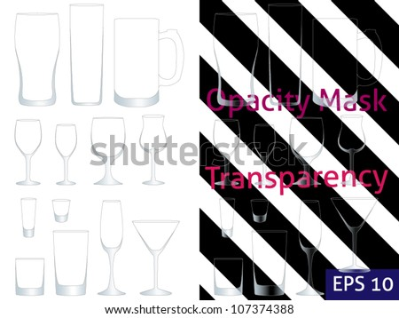 Transparent Glasses with Opacity Mask EPS 10 - stock vector