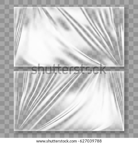 Transparent Glossy Polyethylene Plastic Warp With Shadow. EPS10 Vector