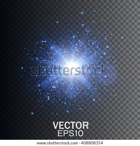 Transparent Glow light effect. Star burst with sparkles