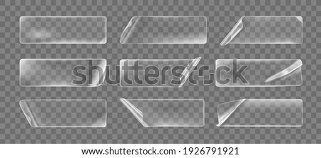 Transparent glued crumpled rectangle stickers with curled corners mock up set. Blank adhesive transparent paper or plastic sticker label with curled and wrinkled effect. 3d realistic vector icon