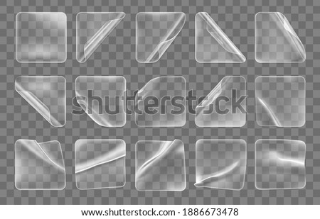 Transparent glued crumpled square stickers with curled corners mock up set. Blank adhesive transparent paper or plastic sticker label with curled and wrinkled effect. 3d realistic vector icon