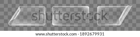 Transparent glued rectangle stickers with curled corners mock up set. Blank adhesive transparent paper or plastic sticker label with curled and wrinkled effect. 3d realistic vector icon