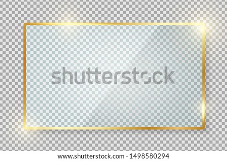 Transparent gold glass banner with reflection isolated on transparent background. Blank gloss glass plate. Realistic rectangle glass frame. Square 3d shiny display mockup. Window design. Vector