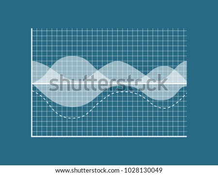 Transparent graph isolated on blue background, data represented in graph, special net, dashed limitation line, white infographic, statistic report