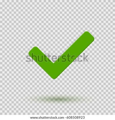 Transparent green checkmark icon. Symbol Yes or OK button for correct, vote, check. Checkbox illustration isolated on transparent background. Vector tick sign or mark graphic element for web design.