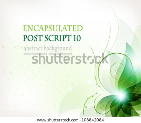 transparent green flower on a white background. Abstract floral card. - stock vector