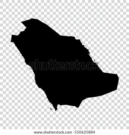Transparent - high detailed black map of Saudi Arabia. Vector illustration eps 10.