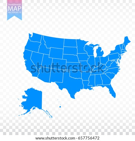Transparent - high detailed blue map of United States of America. USA vector illustration eps 10.