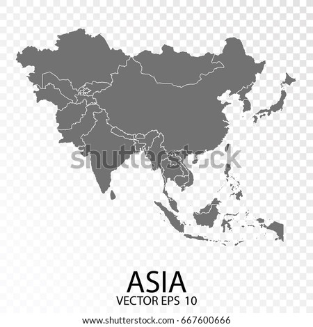 Transparent - High Detailed Grey Map of Asia. Vector eps10.