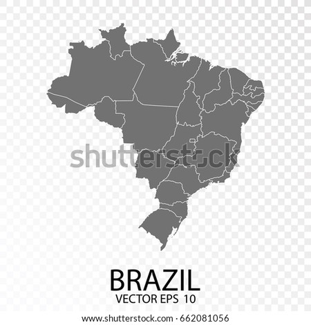 Transparent - High Detailed Grey Map of Brazil. Vector Eps 10.