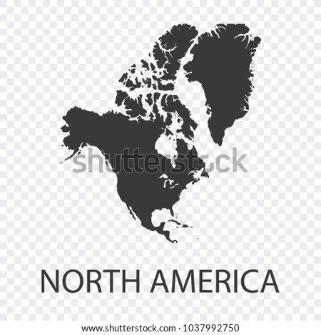 Transparent - High Detailed Grey Map of North America. Vector Eps10.