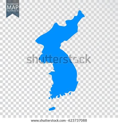 Transparent - high map of North Korea. Vector illustration eps 10.