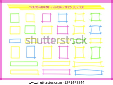 3094ce98caf Transparent highlight pen rectangle frame collection vector illustration.  Set of sketchy square felt pen borders