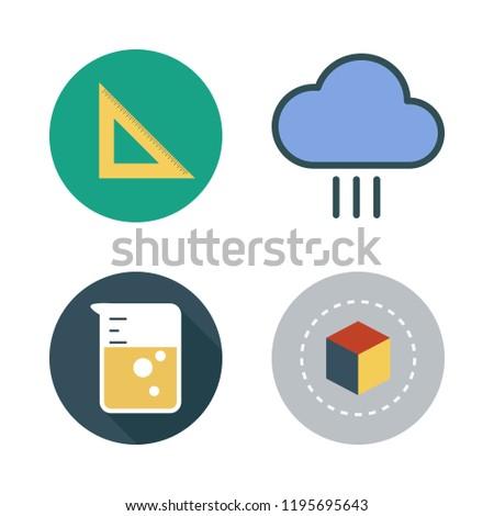 transparent icon set. vector set about rain, set square, flask and cube icons set.