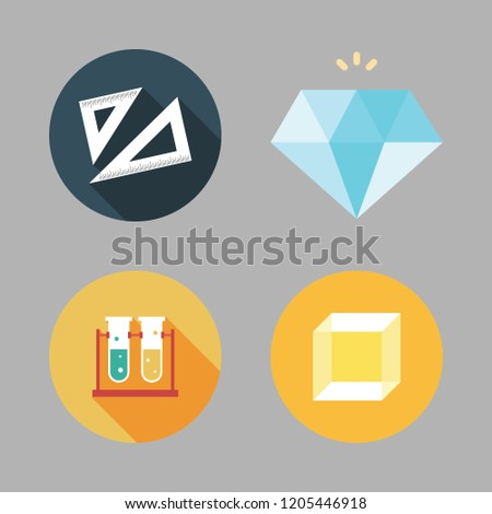 transparent icon set. vector set about set square, diamond, test tubes and cube icons set.