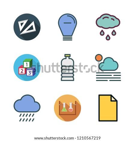 transparent icon set. vector set about set square, water bottle, flasks and rain icons set.