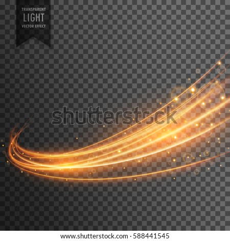 transparent light effect with curve trail and golden sparkles