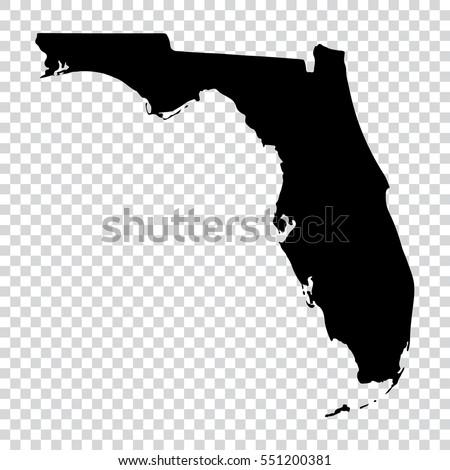 Transparent map - high detailed black map of Florida. Vector illustration eps 10. Foto stock ©