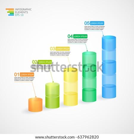 Transparent multicolor rising graph. Vector illustration