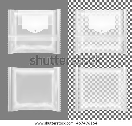 Transparent package with flap for snacks, food, chips, cheese and spices.