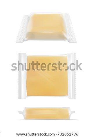 Transparent packaging with cheese.