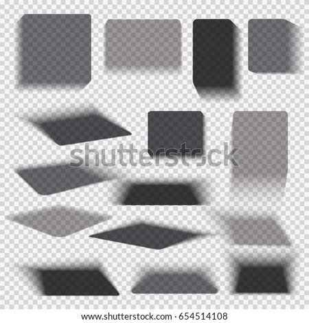 Transparent paper and objects box square shadows isolated. Wall and floor drop shadow vector collection. Empty transparent shade, illustration of dark shadow from box
