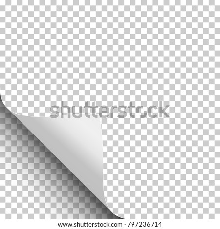Transparent paper with curled lower left corner and soft shadow. Vector template paper design.