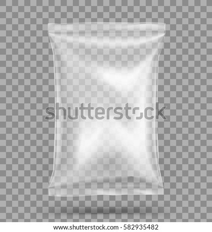 Transparent pillow bag. Vector illustration. Can be use for template your design, promo, adv.