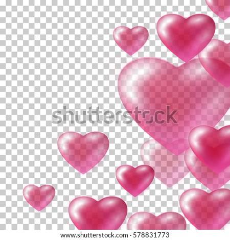 transparent pink heart shape