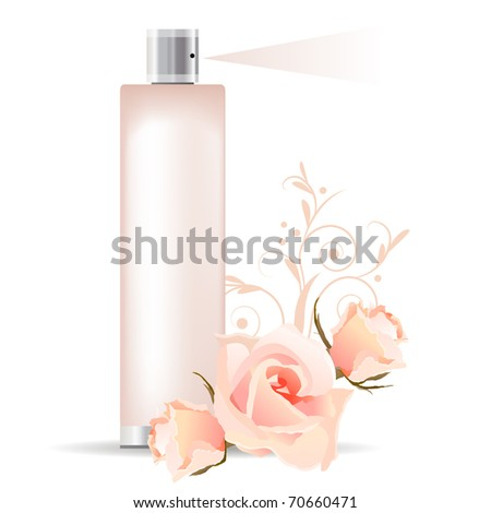 Transparent pink perfume container and three roses