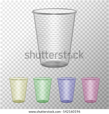 Transparent Plastic Cup Set. Mock Up For Your Design. Photo Realistic Vector Illustration