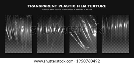 Transparent plastic film texture, stretchable polyethylene film, A4 size. Plastic stretch film effect with crumpled and wrinkled texture. Vector