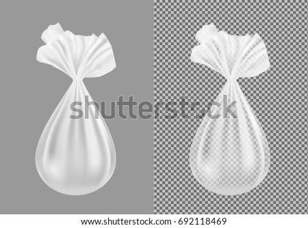 Transparent plastic or cloth package for snacks, food, sugar and spices. Garbage bag.