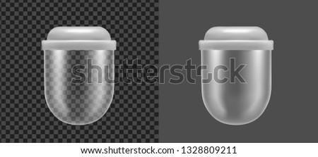 Transparent plastic or glass container.