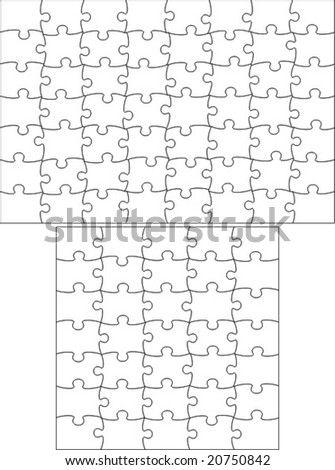 Transparent puzzle, useable on any picture. Vector.