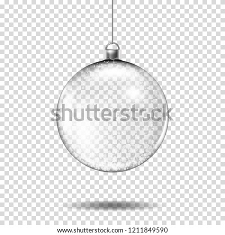 Transparent realistic christmas ball, isolated.