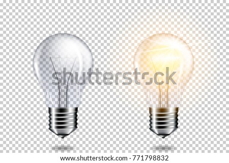 Transparent realistic light bulbs, isolated.