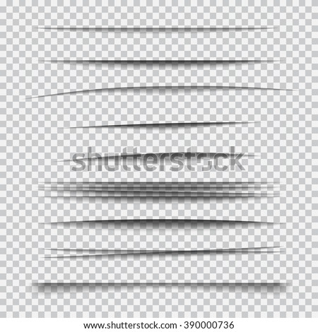 Transparent realistic paper shadow effect set. Web banner. Element for advertising and promotional message isolated on transparent background. Abstract vector illustration for your design and business
