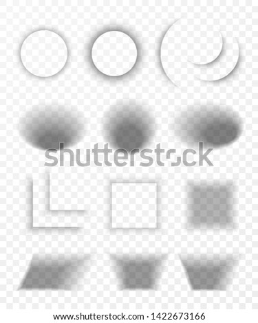 Transparent realistic paper shadow effect set. Web banner. Shade for advertising and promotional message isolated on transparent background.