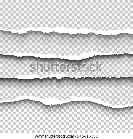 Transparent realistic ripped paper shadow set. Web banner. Element for advertising and promotional message isolated on transparent background. Abstract vector illustration for your design and business