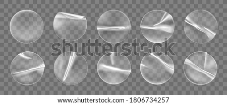 Transparent round adhesive stickers mock up set isolated on transparent background. Plastic crumpled round sticky label with glued effect. Template of a label or price tags. 3d realistic vector mockup