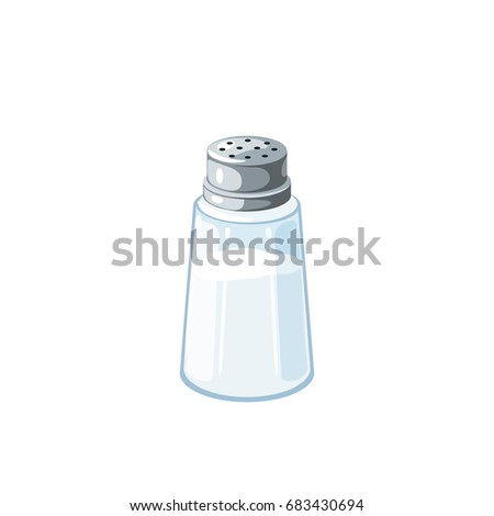Transparent salt shaker with metal cap, salt inside. Vector illustration cartoon flat icon isolated on white.