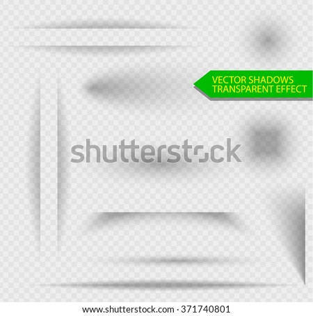 Transparent shadow effect. Set for volume design web banner, presentation or site. Transparent background