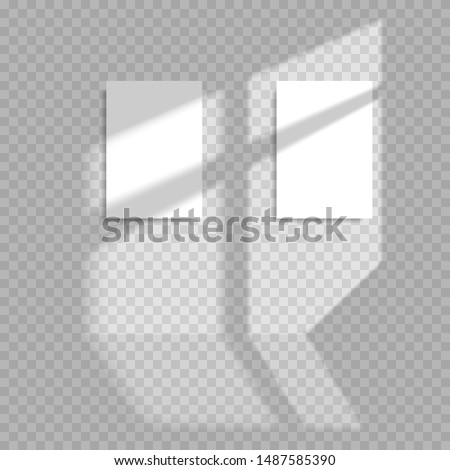 Transparent shadow overlay effects for branding. Blank vertical paper sheet with shadow overlay. Scene Shadow from window. Realistic window light and shadow of vertical paper sheet with shade stripes.